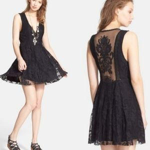 Free People black lace mini dress